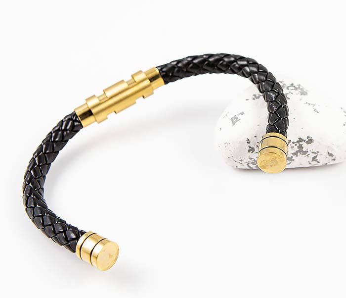 BM559-2 Зажимной браслет из плетеного шнура с золотистой вставкой фото 06
