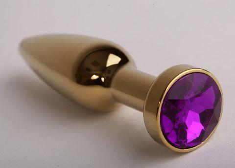 Золотистая анальная пробка с фиолетовым кристаллом - 11,2 см.