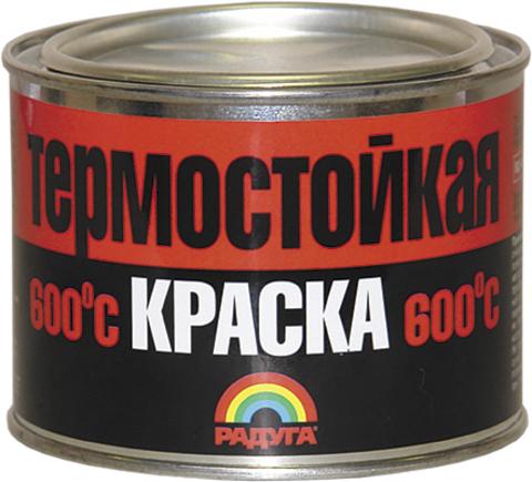 Радуга 818 краска термостойкая водоразбавляемая на основе силиконовой смолы до 600°С для наружных и внутренних работ 0,4л  вд-ко 818 цвет серебристый