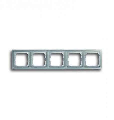 Рамка на 5 постов. Цвет Нержавеющая сталь. ABB(АББ). Pure Сталь(Пьёр Сталь). 1754-0-4321