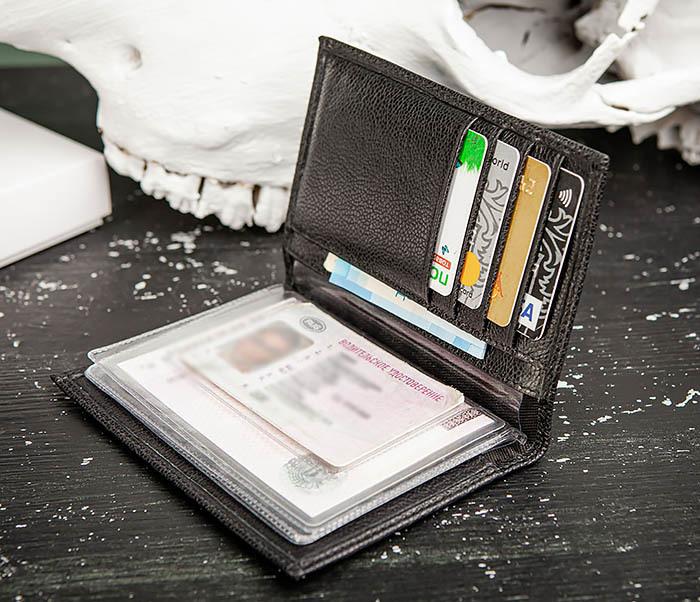 BC217-1 Кожаная обложка для авто документов и карт «Santini», черная фото 04