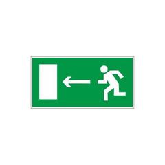 Знак безопасности E04 Направл-е к эв.вых.налево (пластик,ф/л,300х150)