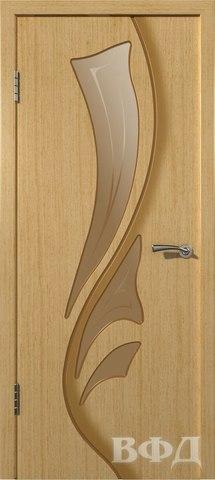Дверь Владимирская фабрика дверей Лилия 5ДО1, стекло бронза художественное, цвет светлый дуб, остекленная