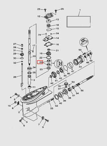 Сальник вертикальный вала для лодочного мотора T40 Sea-PRO (23-20)