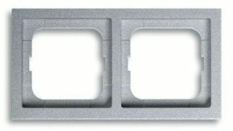 Рамка на 2 поста. Цвет Серебристо-алюминиевый. ABB(АББ). Future Linear(Фьючер Линеар). 1754-0-4530