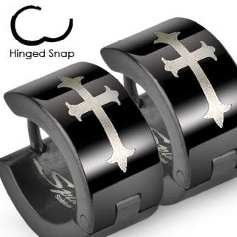 Мужские чёрные серьги кольца с крестом из нержавеющей ювелирной медицинской хирургической стали 316L SPIKES SSE-015