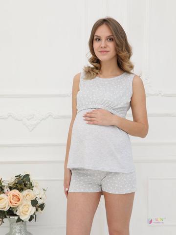 ФЭСТ, Hunny Mammy. Пижама для беременных и кормящих с горизонтальным секретом, серый меланж/белый