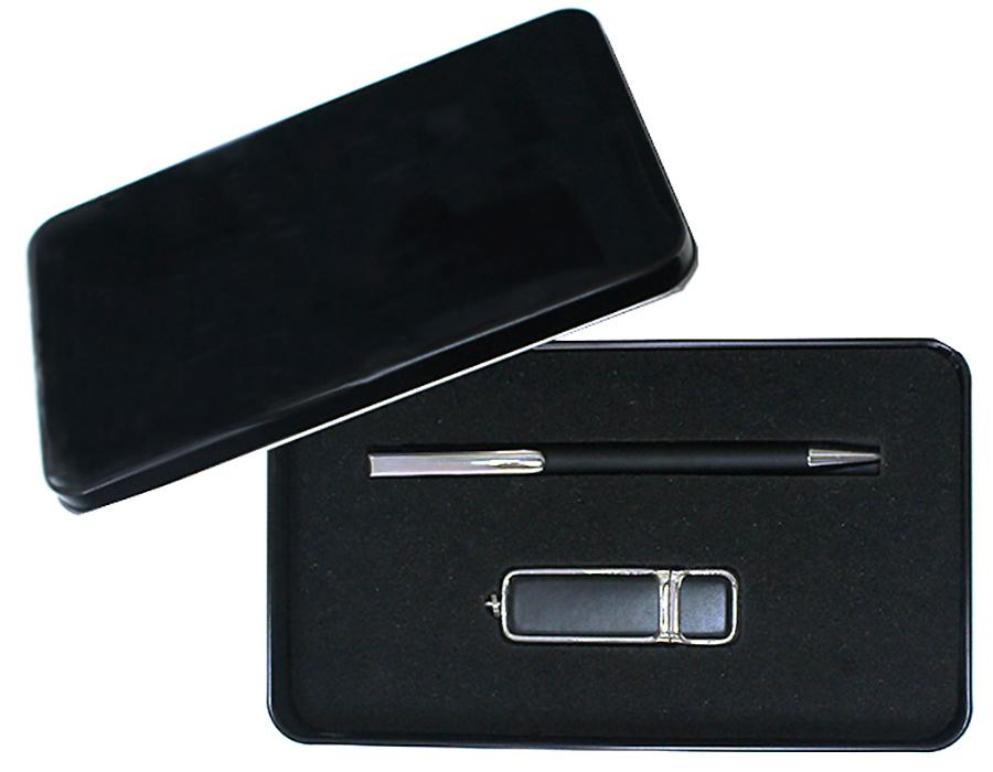 Подарочный набор + ежедневник + ручка + флешка 16, 64 Гб