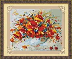Весенние маки - мозичная картина, MO030
