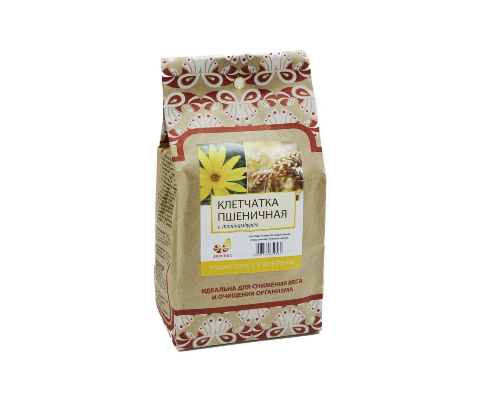 Клетчатка пшеничная, Дивинка, Топинамбур, бумажный пакет, 300 г.