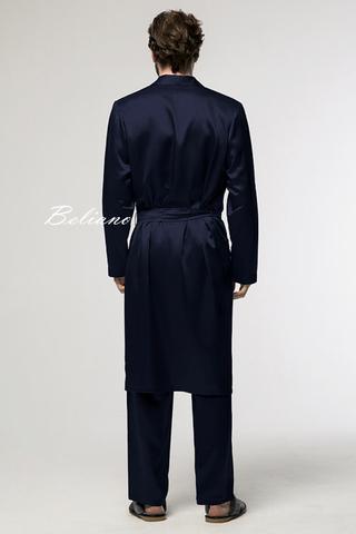 Шелковый халат и брюки из натурального шелка, комплект мужской шелковый синего цвета, купить киев