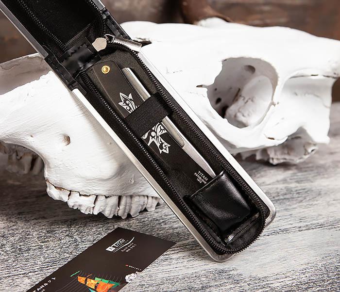 RAZ416-1 Традиционная опасная бритва Titan из стали (черная) фото 09