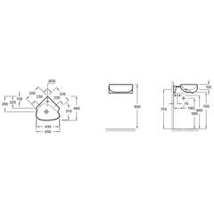 Рукомойник Jacob Delafon Nouvelle Vague 46х46 EGL112-00 угловой схема