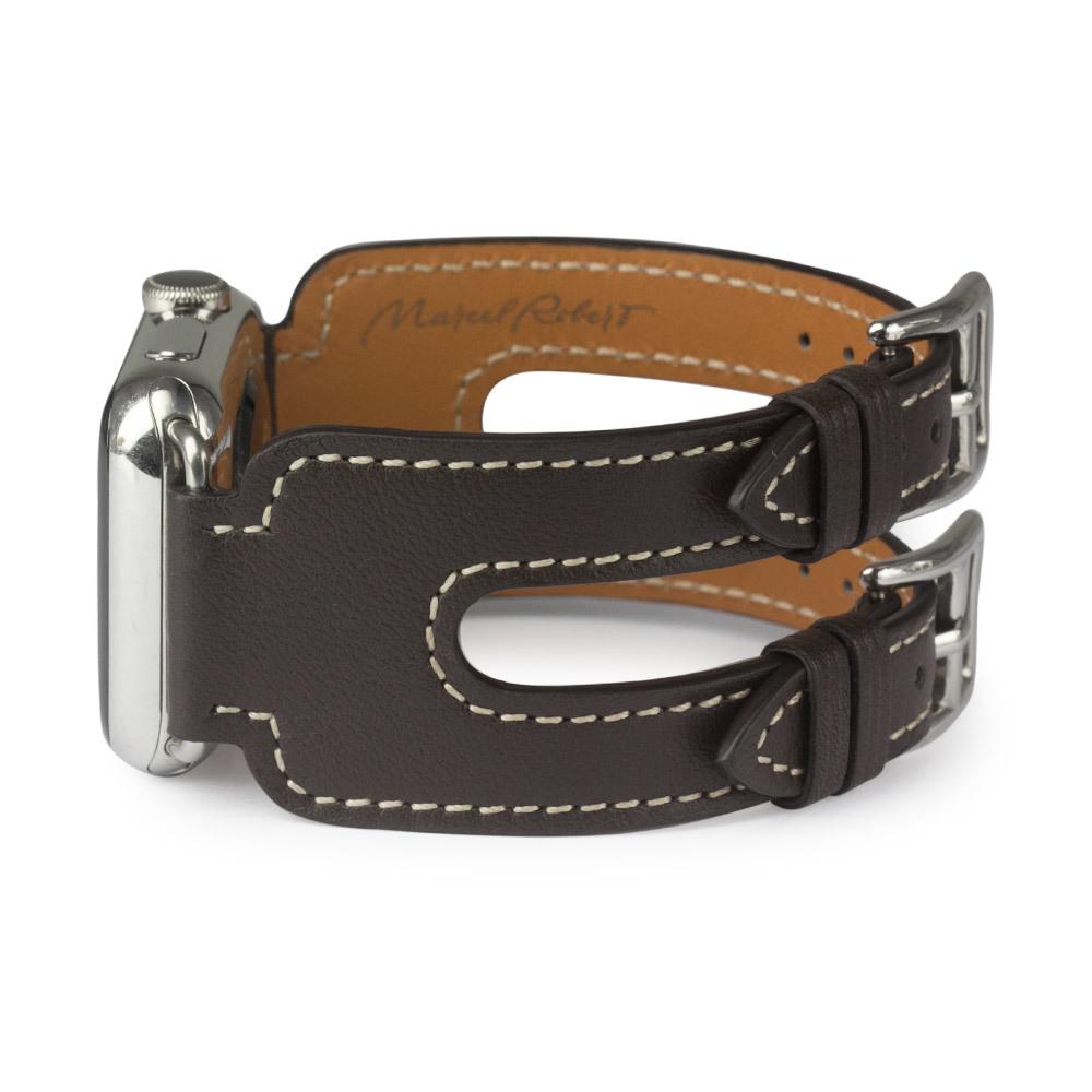 Ремешок для Apple Watch 38мм ST Double Buckle из натуральной кожи теленка, темно-коричневого цвета