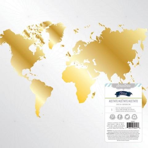 Пластиковый прозрачный лист с картой Atlas by Pink Paislee 30x30см