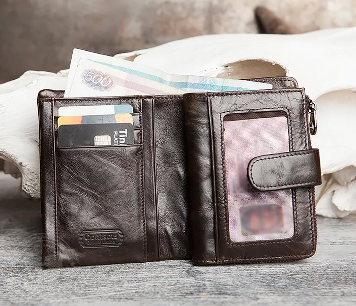 WL257-3 Вместительное мужское портмоне коричневого цвета на застежке фото 06