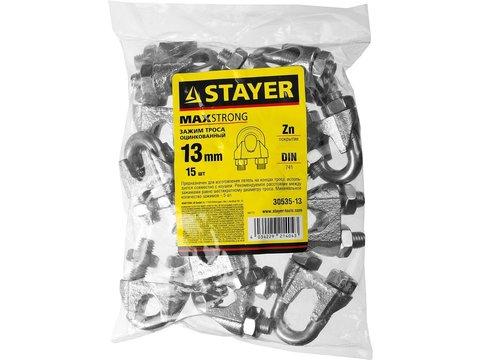 Зажим троса DIN 741, оцинкованный, 13мм, 15 шт, STAYER Master 30535-13