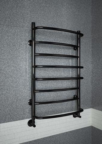 Euromix Black - черный полотенцксушитель c c чередующимися прямыми и выпуклыми перекладинами