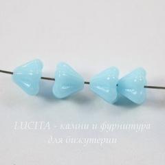 Бусина Bell Shaped Flower Колокольчик, 6х4 мм, нежно-голубая