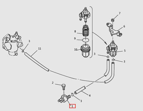 Коннектор топливный для лодочного мотора T9.8 Sea-PRO (6-1)