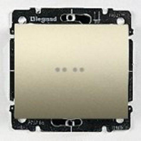 Выключатель одноклавишный с подсветкой 10A. Цвет Титан. Legrand Galea Life (Легранд Галея Лайф). 775600+771434