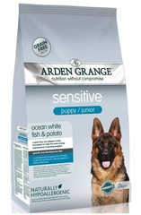 Сухой корм для щенков и молодых собак, Arden Grange Puppy/Junior Sensitive, с деликатным желудком и/или чувствительной кожей, с белой рыбой и картофелем