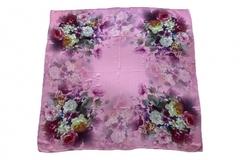 Итальянский платок из шелка сиреневый с цветами 0301