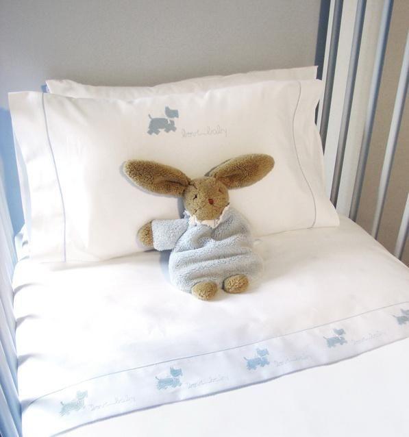 Бамперы для детских кроваток Чехол для бампера 390х45 Bovi Собачки бело-голубой chehol-dlya-bampera-sobachki-ot-bovi.jpg