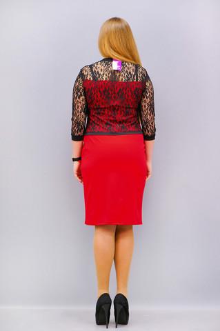 Шанталь. Стильное платье больших размеров. Красный.