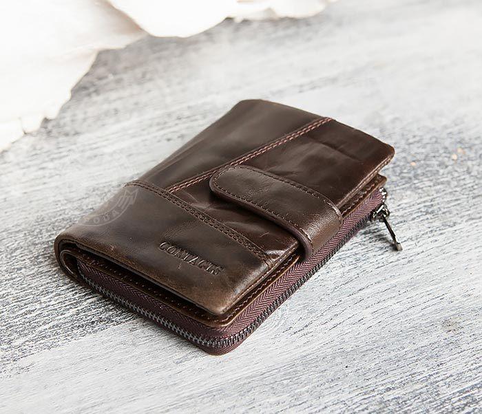 WL257-3 Вместительное мужское портмоне коричневого цвета на застежке фото 08