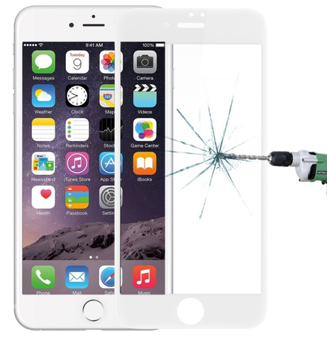 Tempered Glass Silk Screen 3D Film HD 9H Hardnes for iPhone 8 / 7 White (белое)