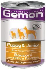 Gemon Dog Puppy & Junior консервы для щенков до 10 мес. всех пород с кусочками курицы и индейкой 415гр.
