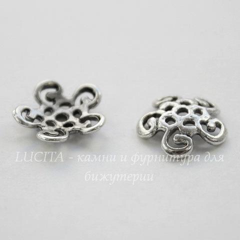 Шапочка для бусины ажурная (цвет - античное серебро) 12х3,5 мм, 10 штук