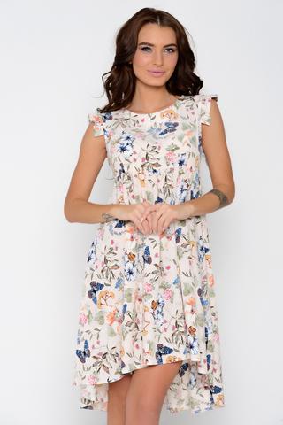 Летнее романтичное платье с завышенной линией талии. Сбоку замок. (Длина: по спинке 44-94см; 46-96см; 48-98см; 50-99см; перед короче на 15 см)