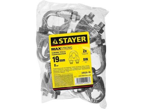 Зажим троса DIN 741, оцинкованный, 19мм, 8 шт, STAYER Master 30535-19