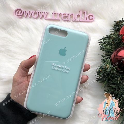Чехол iPhone 7+/8+ Silicone Case /marine green/ нежно-мятный original quality