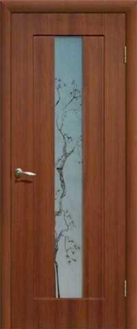 Дверь Сибирь Профиль Японская вишня, цвет итальянский орех, остекленная