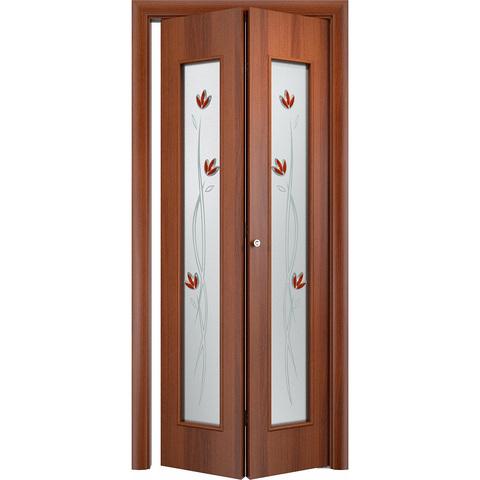 Складная дверь Тиффани итальянский орех со стеклом (фьюзинг)