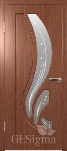 Дверь GreenLine Sigma-82, стекло матовое с фьюзингом, цвет итальянский орех, остекленная