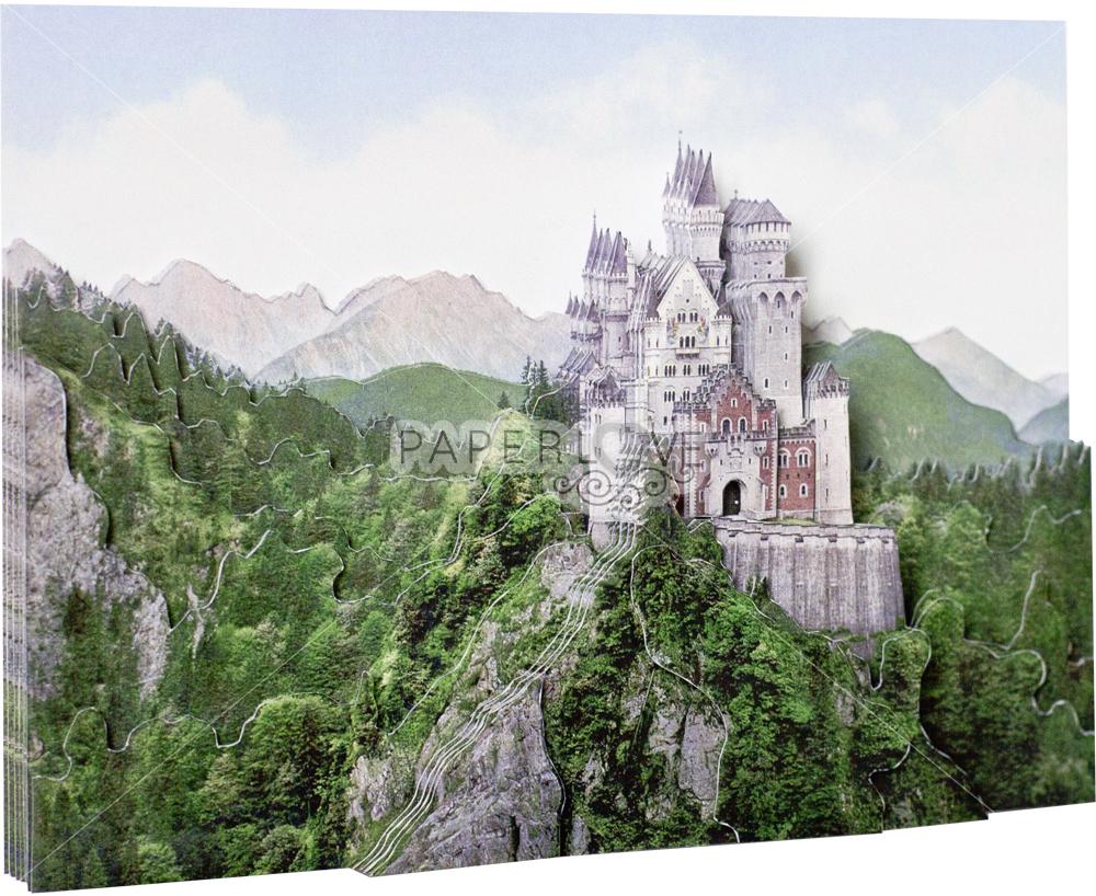 Папертоль Замок в Баварии — собранная модель, вид сбоку