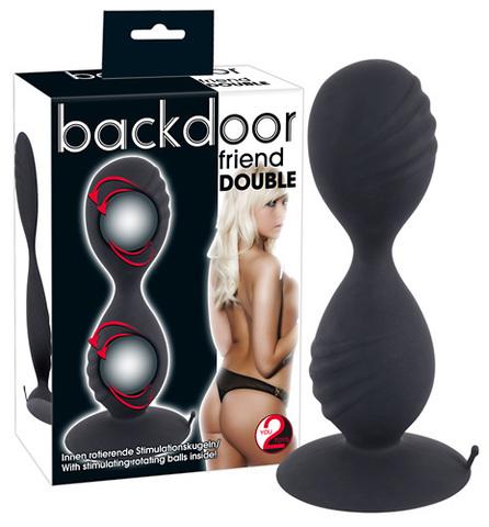 Анальные шарики на жесткой сцепке Backdoor Double friend (3,7 х 12,5 см)