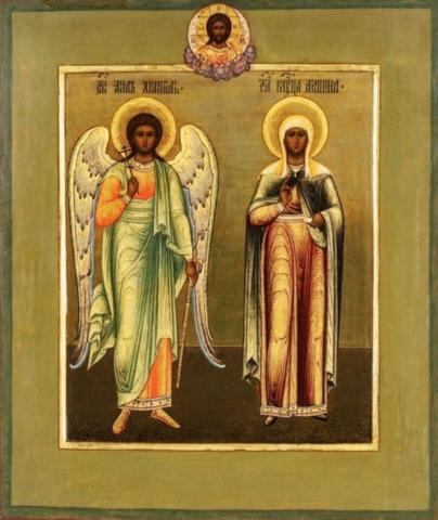 Икона святая Акилина и Ангел Хранитель на дереве на левкасе мастерская Иконный Дом