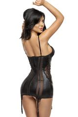 Эротическая черная сорочка с подвязками для чулок