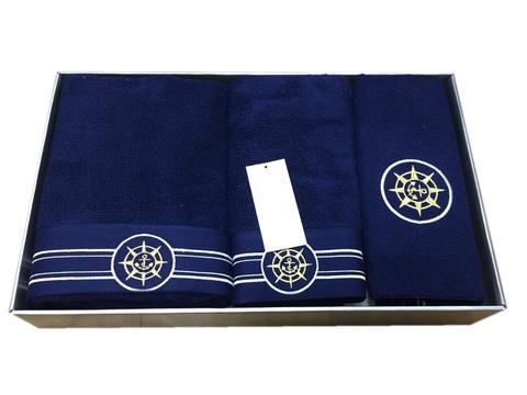 Набор полотенец  ELEGANGE - ЭЛЕГАНЗ  с ковриком синий Maison Dor (Турция)