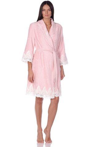 GLORIA ГЛОРИЯ розовый женский бамбуковый халат Maison Dor Турция