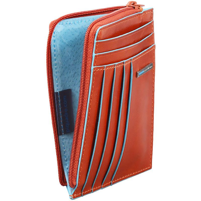 Чехол для кредитных карт Piquadro Blue Square, цвет оранжевый, 12,5x9x1 см (PU1243B2/AR)