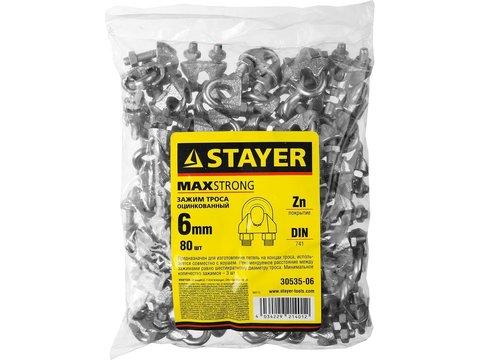 Зажим троса DIN 741, оцинкованный, 6мм, 80 шт, STAYER Master 30535-06