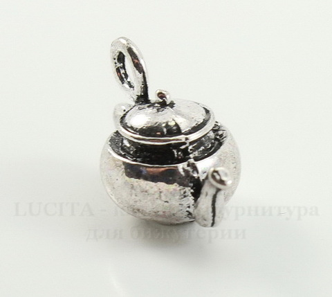 "Подвеска 3D ""Чайник"" 18х13 мм (цвет - античное серебро)"