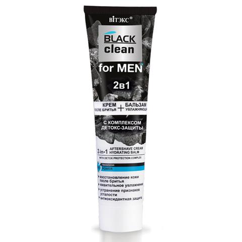 Витэкс Black Clean for Men 2 в 1 Крем после бритья + Увлажняющий бальзам с комплексом детокс-защиты 100мл