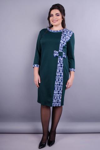 Монако. Стильна жіноча сукня плюс сайз. Смарагд+візерунок.